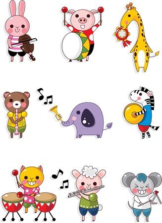 동물 놀이 음악 일러스트
