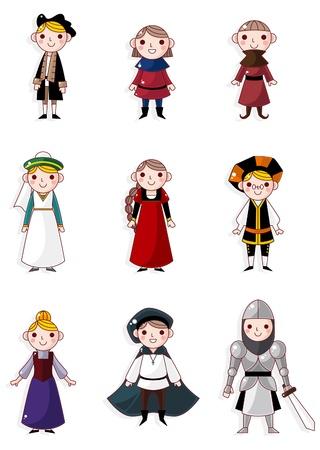 espadas medievales: pueblo medieval de dibujos animados Vectores