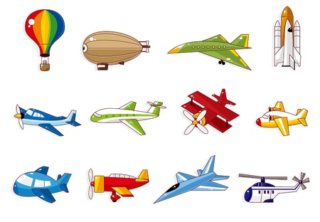 airship: cartoon airplane icon Illustration