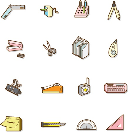 stationery items: cute cartoon stationery Illustration