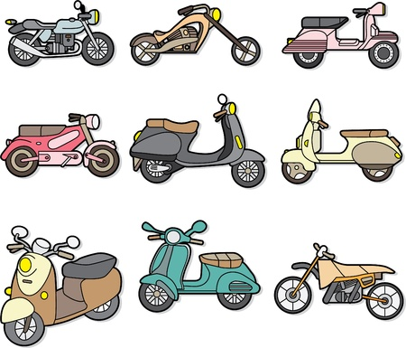 doodle motorcycle element Vector