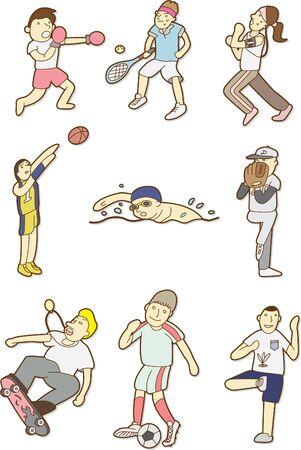 doodle sport people Vector
