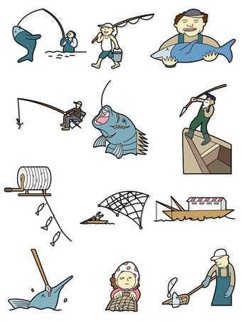 cartoon fishing icon Vector