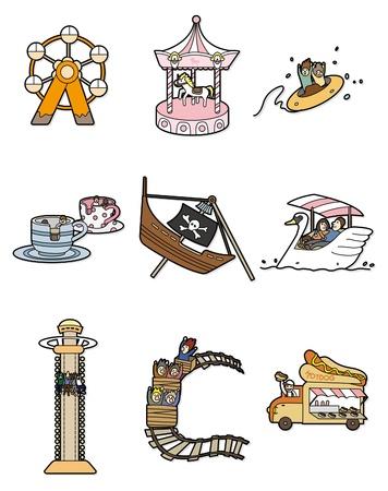 Cartoon parc d'attractions icône