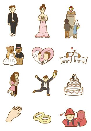 cartoon wedding icon 일러스트