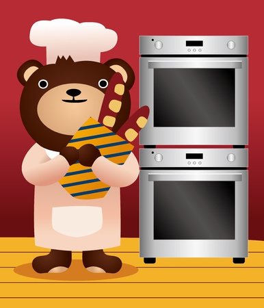 bear and bread Vector