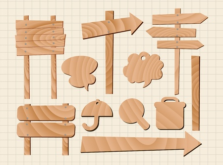 road signs: set of wooden sign
