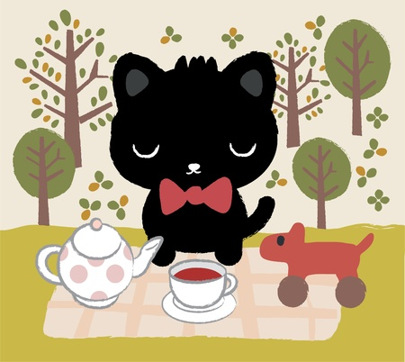 cat tea time Vector