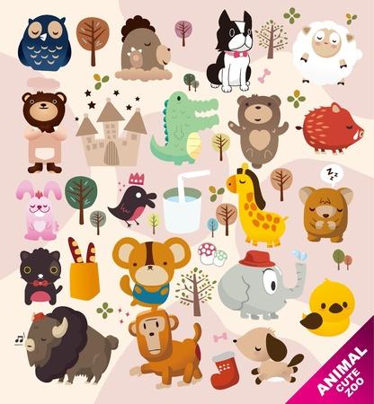 cute animals zoo 일러스트