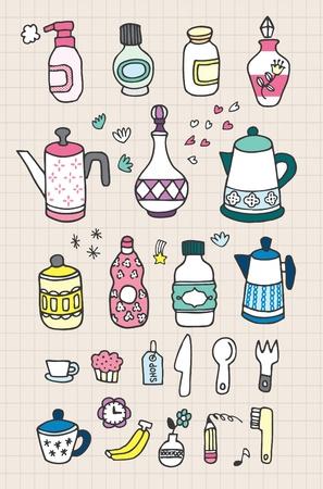 kettles: botella de sorteo de mano Vectores