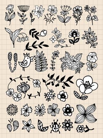 botanics: Set of black flower design elements