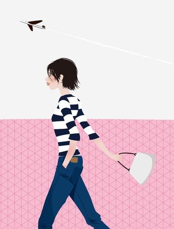 lady walk Vector