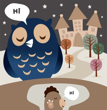 Owl and Woodchuck Vector