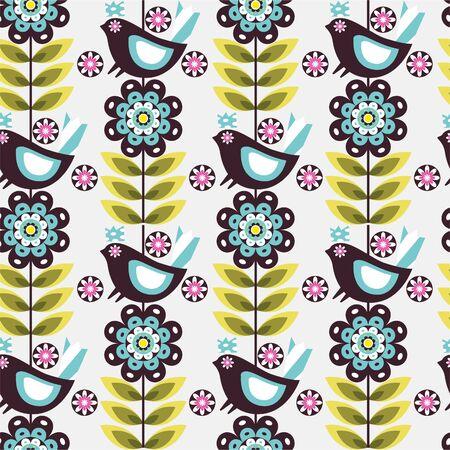 패턴 꽃 새