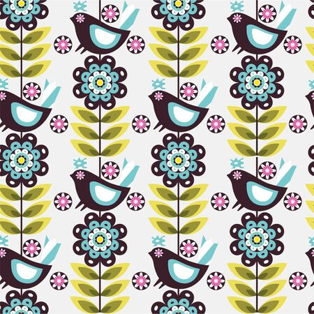 pattern flower bird Vector