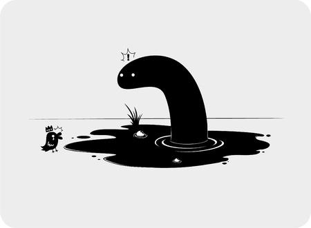 ditch: Snake and bird