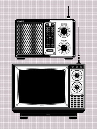 radio retr�: TV e radio Vettoriali