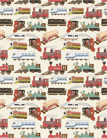 seamless Trains pattern Vector