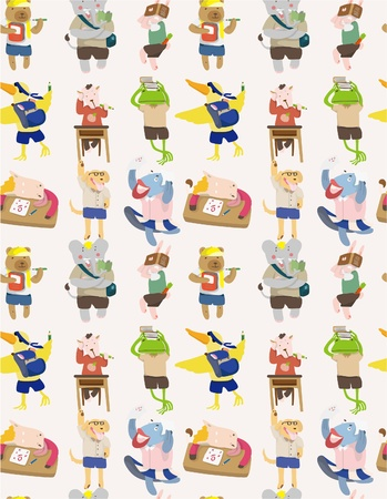 seamless animal student pattern Vector