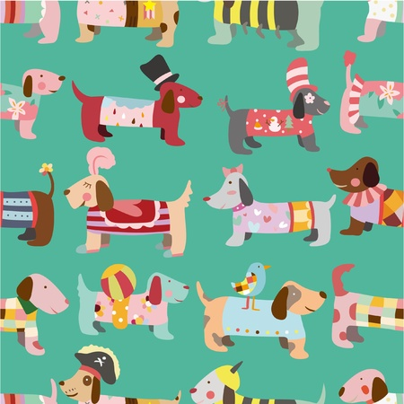 seamless Dogs pattern Vector