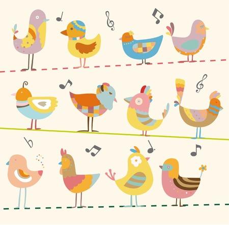 pollitos: tarjeta de aves Vectores