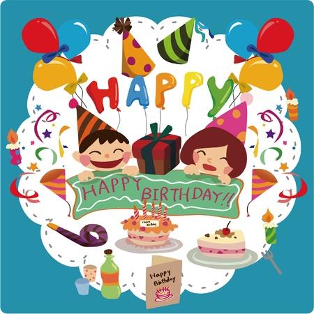 decoracion de pasteles: tarjeta de cumpleaños Vectores