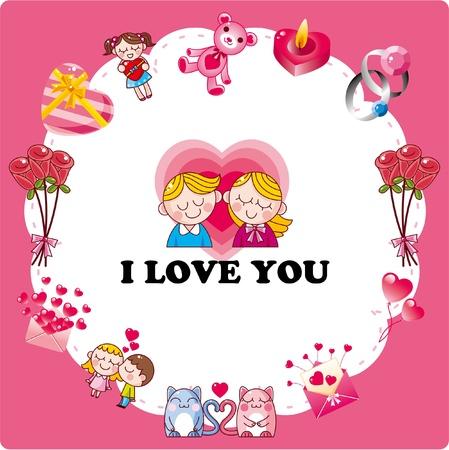 enamorados caricatura: tarjeta de amor Vectores