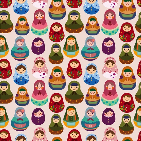 russian culture: seamless Russian doll pattern