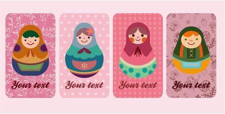 dolls card Stock Vector - 8505597