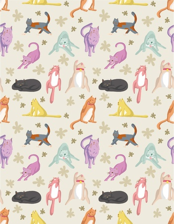 seamless cat pattern Vector