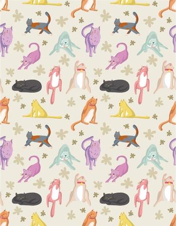 pussy hair: seamless cat pattern Illustration