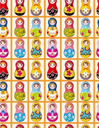 seamless Russian dolls pattern Vector