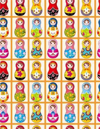 russian culture: seamless Russian dolls pattern