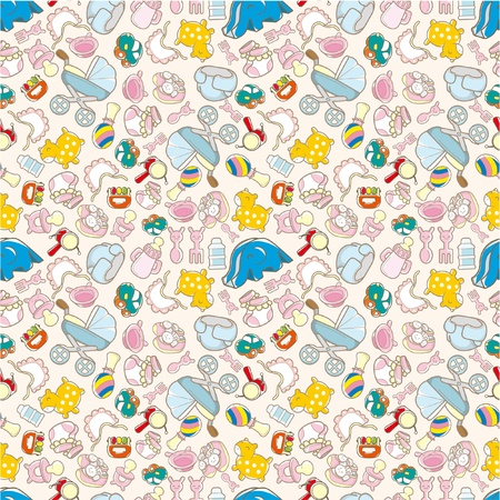 seamless baby toy pattern Vector