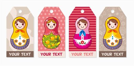Russian dolls card Vector