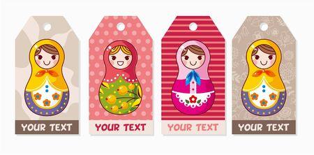 Russian dolls card Stock Vector - 8505603