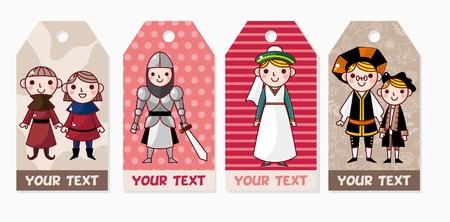 Medieval people card Vector