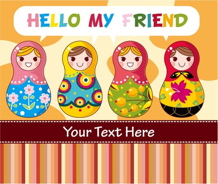 Russian dolls card Stock Vector - 8505604