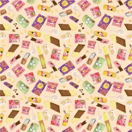 snack cartoon: seamless snacks pattern