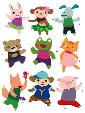 cartoon dancing animal Vector