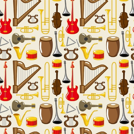 cartoon musical instruments Vector