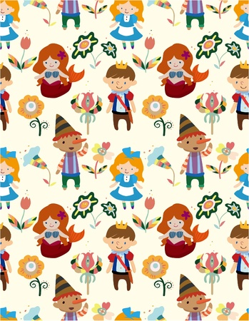 fairytale background: seamless story people pattern