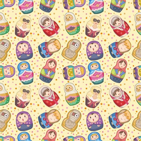 seamless Russian dolls pattern Vector