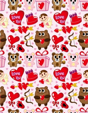 원활한 발렌타인 패턴 일러스트