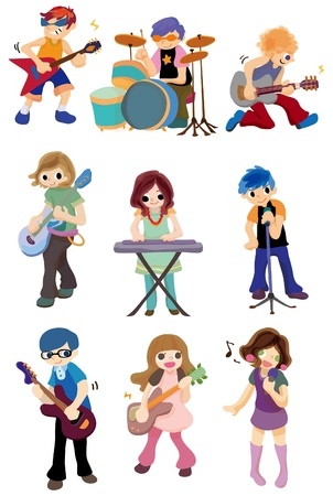cartoon rock band icon Vector