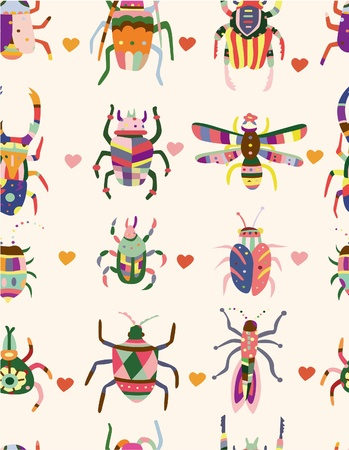 seamless bug pattern Vector