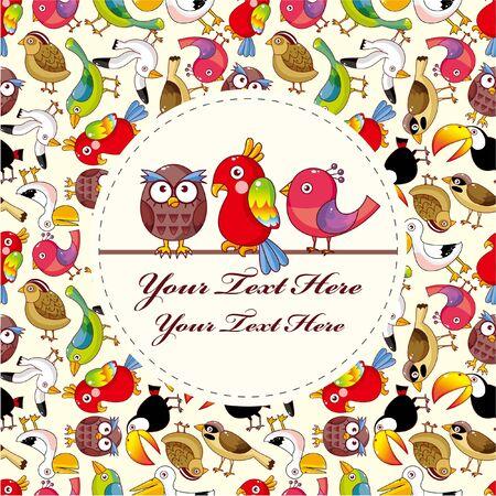 cute bird: bird card Illustration