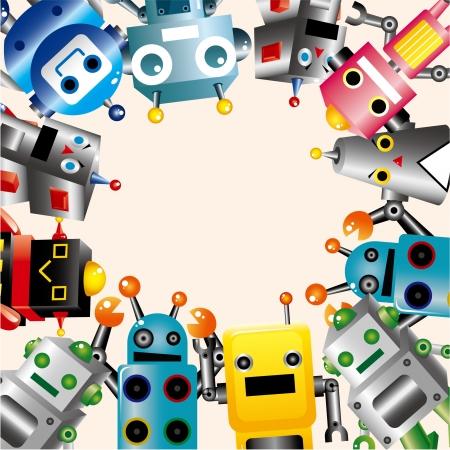 pattern monster: carta di robot Vettoriali