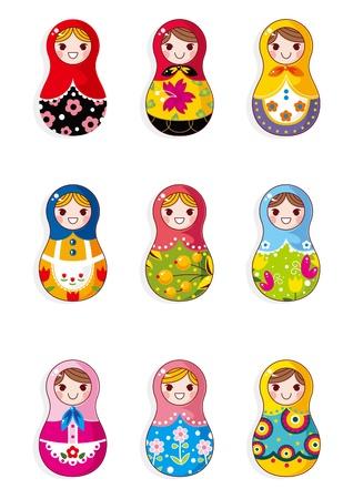 Russische poppen cartoon  Vector Illustratie