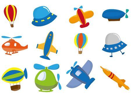 ballon dirigeable: Cartoon avion  Illustration